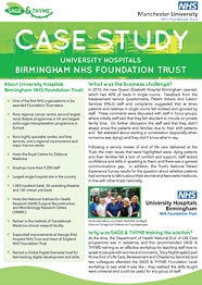 University Hospital Birmingham SAGE and THYME case study
