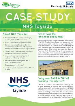 NHS Tayside SAGE and THYME case study
